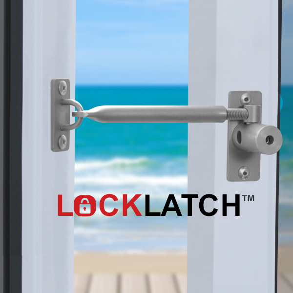 Locklatch secure a window use as a door latch for Salt air resistant door hardware